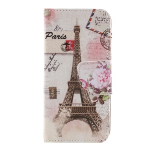 Pattern Printing Cross Texture Stand Wallet Leather Protective Mobile Cover for Sony Xperia XZ1 Compact - Eiffel Tower and Flowers