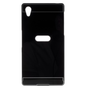 Slide-on PC Plate + Metal Bumper Hybrid Case for Sony Xperia Z5 / Z5 Dual - Black