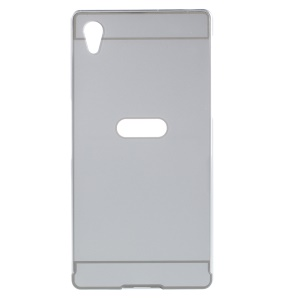 Slide-on PC Plate + Metal Bumper Hybrid Shell Case for Sony Xperia Z5 / Z5 Dual - Silver
