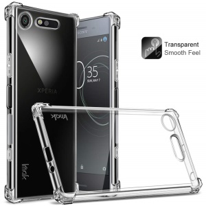 IMAK Smooth Feel Airbag Shockproof TPU Shell for Sony Xperia XZ1 with Explosion-proof Screen Film - Transparent