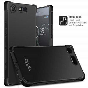 IMAK Skin Feel Airbag Shockproof TPU Case for Sony Xperia XZ1 Compact with Explosion-proof Screen Film - Metal Black