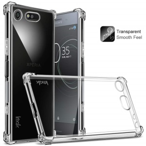 IMAK Smooth Feel Airbag Shockproof TPU Shell for Sony Xperia XZ1 Compact with Explosion-proof Screen Film - Transparent