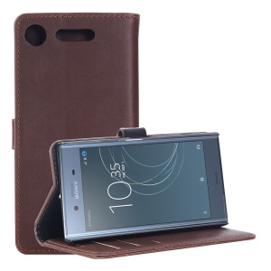 Retro Style Crazy Horse PU Leather Wallet Mobile Shell for Sony Xperia XZ1 - Coffee