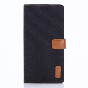 Oxford Cloth Leather Wallet Stand Cover for Sony Xperia XZ1 - Black