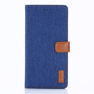 Oxford Cloth Stand Wallet Leather Case for Sony Xperia XZ1 - Baby Blue