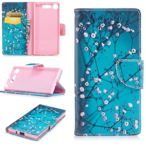 Patterned PU Leather Wallet Stand Protective Phone Cover for Sony Xperia XZ1 - Wintersweet