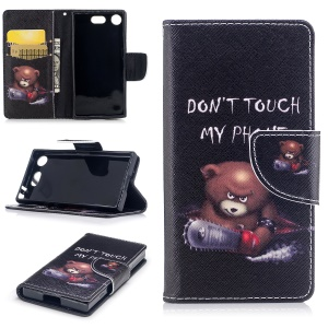 Patterned PU Leather Wallet Stand Protective Cell Phone Casing for Sony Xperia XZ1 Compact - Bear with Saw