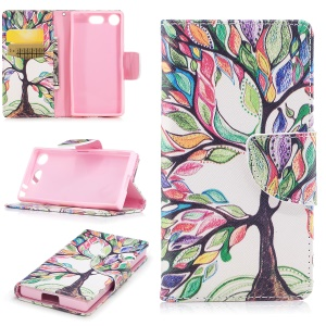 Patterned PU Leather Wallet Stand Protective Mobile Phone Case for Sony Xperia XZ1 Compact - Tree with Colorful Leaves