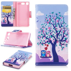 Pattern Printing Magnetic Leather Wallet Stand Phone Case for Sony Xperia XZ1 Compact - Tree with Blossoming Flower and Owls