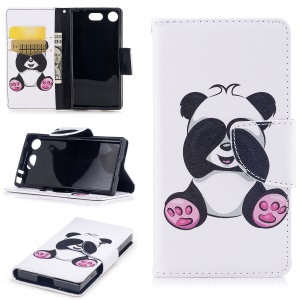 Pattern Printing Leather Flip Wallet Mobile Phone Case with Stand for Sony Xperia XZ1 Compact - Panda