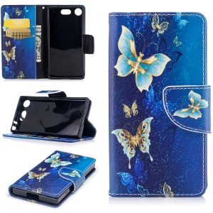 Pattern Printing Magnetic Leather Wallet Case with Card Holders for Sony Xperia XZ1 Compact - Gold and Cyan Butterfly