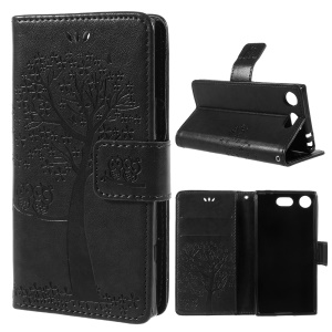 Imprint Tree Owl Leather Wallet Case for Sony Xperia XZ1 Compact - Black