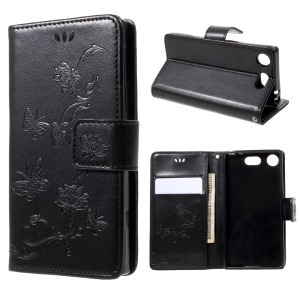 Imprint Butterfly Flower Magnetic Wallet PU Leather Stand Cover for Sony Xperia XZ1 Compact - Black
