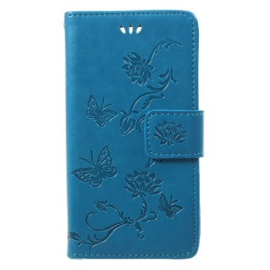 Imprint Butterfly Flower Magnetic Wallet PU Leather Stand Mobile Phone Casing for Sony Xperia XZ1 Compact - Blue