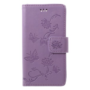 Imprint Butterfly Flower Magnetic Wallet PU Leather Stand Cell Phone Casing for Sony Xperia XZ1 Compact - Purple