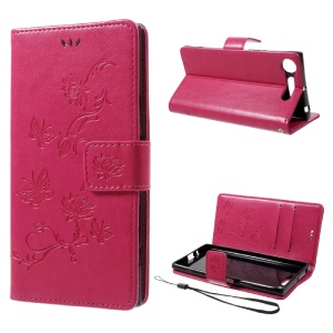 Imprint Butterfly Flower Wallet Leather Case for Sony Xperia XZ1 - Rose