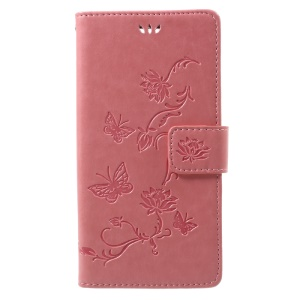 Imprint Butterfly Flower Stand Leather Case for Sony Xperia XZ1 - Pink