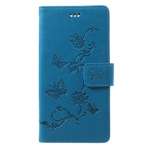 Imprint Butterfly Flower Wallet Leather Phone Cover for Sony Xperia XZ1 - Blue