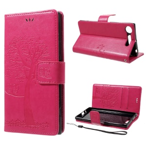 Imprint Tree Owl Magnetic Wallet PU Leather Stand Cell Phone Shell for Sony Xperia XZ1 - Rose