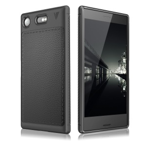 IVSO Gentry Series Leather Coated TPU Business Phone Casing for Sony Xperia XZ1 - Black