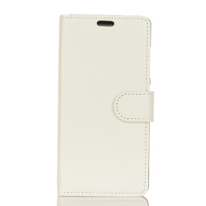 Litchi Skin PU Leather Wallet Stand Phone Shell for Sony Xperia XZ1 Compact - White