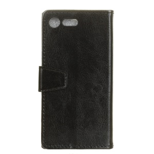 Crazy Horse Texture Card Slot Leather Stand Phone Case para Sony Xperia XZ1 Compact - negro