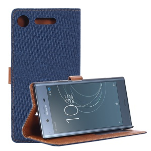 Jeans Cloth Wallet Leather Stand Cover for Sony Xperia XZ1 - Dark Blue