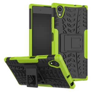 For Sony Xperia XA1 Plus Kickstand PC TPU Hybrid Phone Protection Case Cool Tyre Pattern - Green