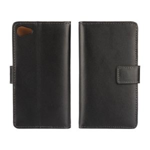 Genuine Split Leather Wallet Case for Sony Xperia Z5 Compact - Black