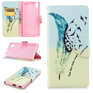 Pattern Printing PU Leather Wallet Stand Mobile Phone Case for Sony Xperia XA1 Plus - Feather and Birds