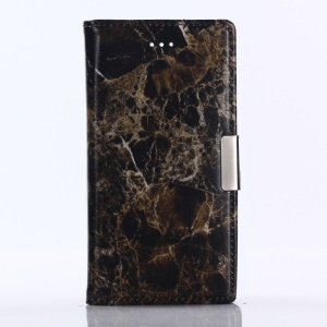 Marble Pattern Stand Leather Wallet Case for Sony Xperia XZ1 Compact - Black