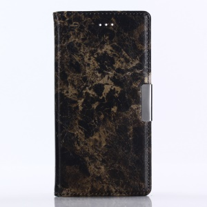 Marble Pattern Stand Leather Wallet Cover for Sony Xperia XZ1 - Black