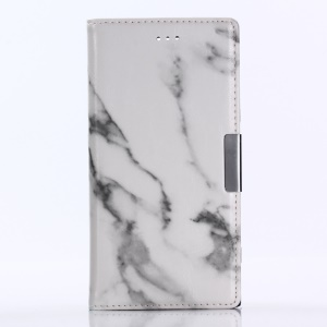 Marble Pattern Stand Leather Wallet Phone Casing for Sony Xperia XZ1 - White