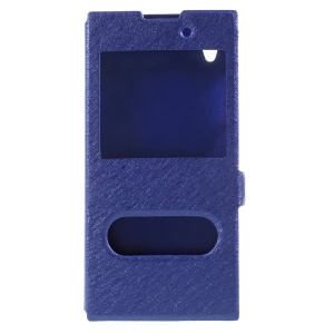 Dual View Window Silk Texture Leather Case Accessory for Sony Xperia XA1 Plus - Blue