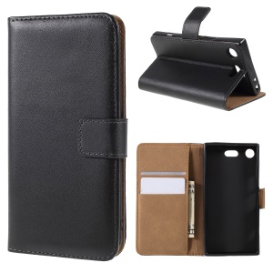 Split Leather Wallet Stand Cell Phone Case for Sony Xperia XZ1 - Black