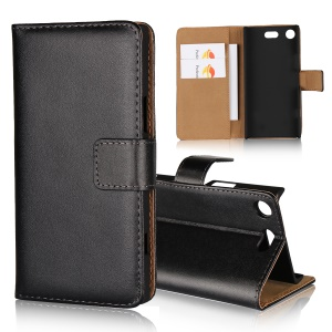 Wallet Stand Split Leather Case for Sony Xperia XZ1 Compact - Black