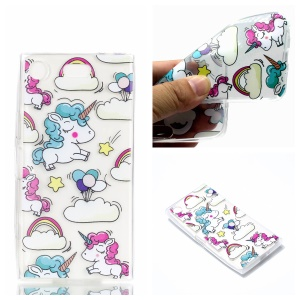Pattern Printing TPU Back Case for Sony Xperia XZ1 Compact - Cloud and Unicorn