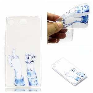 Pattern Printing TPU Flexible Case for Sony Xperia XZ1 Compact - FUCK YOU Pattern