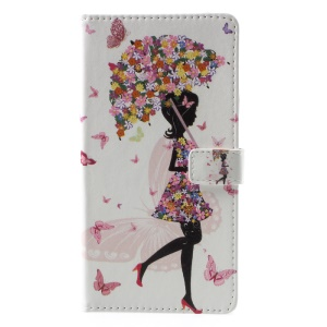 Pattern Printing Magnetic Leather Stand Case for Sony Xperia XA1 Plus - Flowered Girl Holding Umbrella