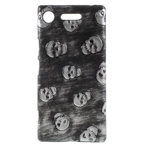 PU Leather Skin PC Back Phone Shell for Sony Xperia XZ1 - Grey Skull Pattern