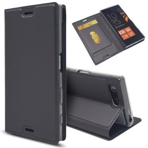 Magnetic Leather Card Holder Case for Sony Xperia X Compact - Black