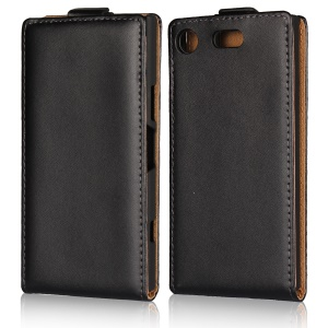 Vertical Split Genuine Leather Case for Sony Xperia XZ1 Compact - Black