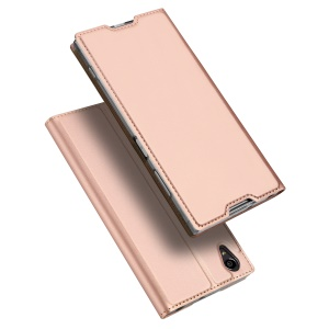 DUX DUCIS Skin Pro Series for Sony Xperia XA1 Plus Business Leather Phone Cover with Stand - Rose Gold
