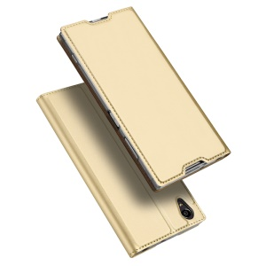 DUX DUCIS Skin Pro Series for Sony Xperia XA1 Plus Business Leather Card Holder Flip Case - Gold