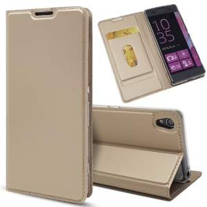 Magnetic Leather Card Holder Shell for Sony Xperia XA / XA Dual - Gold
