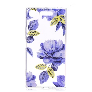 Pattern Printing TPU Flexible Cellphone Shell for Sony Xperia XZ1 Compact - Blue Flowers