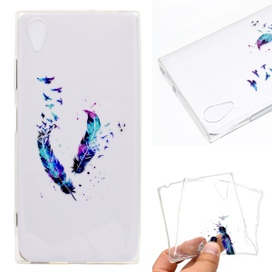 Pattern Printing TPU Back Case for Sony Xperia XA1 Plus - Colorized Feather