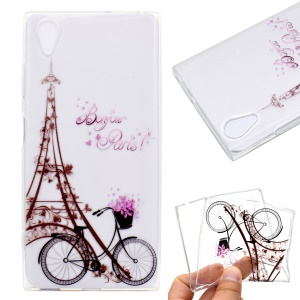 Pattern Printing TPU Soft Case for Sony Xperia XA1 Plus - Eiffel Tower and Bicycle