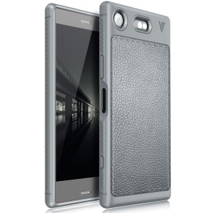 LENUO Litchi Skin TPU Phone Cover for Sony Xperia XZ1 Compact - Grey