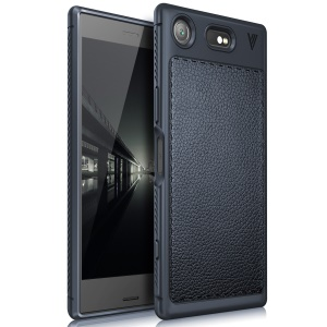 LENUO Litchi Skin Leather Coated TPU Mobile Cover for Sony Xperia XZ1 Compact - Dark Blue